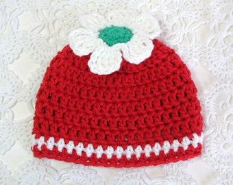 Newborn Beanie Cotton Hat Infant Photo Prop Preemie Crochet Cap Baby Shower Gift Berry Red Snow White Flower