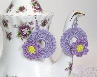 Lavender Earrings Violet Flower Crochet Jewelry Wreath Design Circle Dangle Fashion Accessory Handmade by Lilena