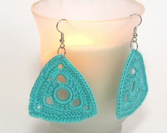Teal Earrings Crochet Jewelry Turquoise Geometric Triangles Lightweight Dangle Fashion Accessory For Her