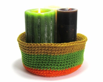 Rug Yarn Basket Crochet Organizer Tangerine Orange Bowl Cinnamon Pot Peapod Green Rustic Fabric Nut Bowl Autumn Home Decor Housewarming Gift