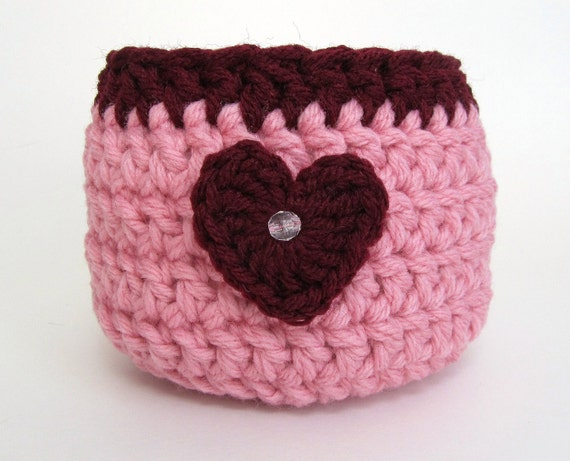 Crochet Basket Yarn Bowl Honeysuckle Pink Black Cherry Heart Fabric Organizer Storage Pot Housewarming Gift Valentine Present Handmade
