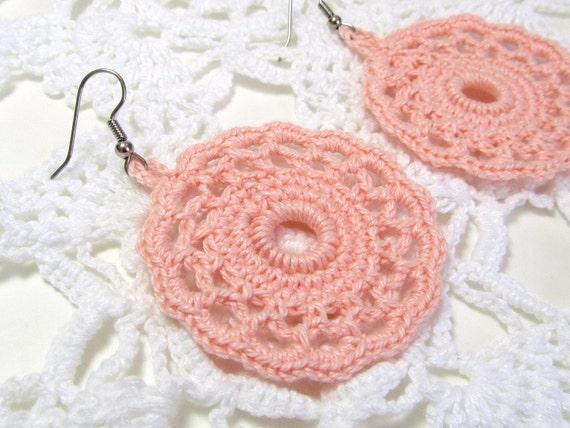 Peach Dangle Earrings Crochet Jewelry Round Doily Lace Jewellry Women's Handmade Fashion by Lilena