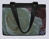 Canvas Handbag - Discontinued Bag Style- White Rose Image. Please choose another bag for this beautiful image..