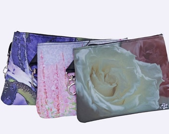 COSMETIC-Makeup BAG-FLORAL-Women's Accessories-Abstract Photography-Art Bag. Shown in White Rose, Pink Wildflowers, Purple Iris.