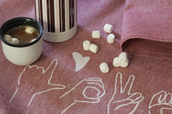 L-O-V-E tea towel in Sign Language, Floured Cranberry