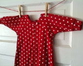 Dots of Love - Long-sleeve drawstring nightgown, Size 3-5 months