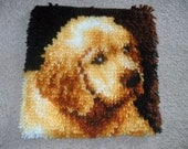Golden Retriever Latch Hooked Rug