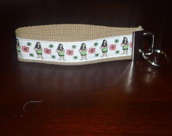 Natural Hula Wristlet Key Chain/Fob
