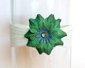 Cute Detailed Green Flower on White Headband.