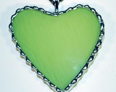 SPECIAL PRICE Lime Green Heart Pendant made from Recycled Art Glass