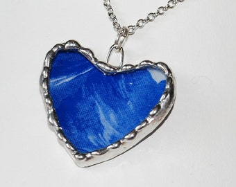 Blue Heart Pendant from Upcycled Grey Goose Vodka Bottle