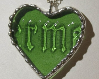 Heart Pendants MADE to ORDER of recycled Jagermeister Liquor Bottle