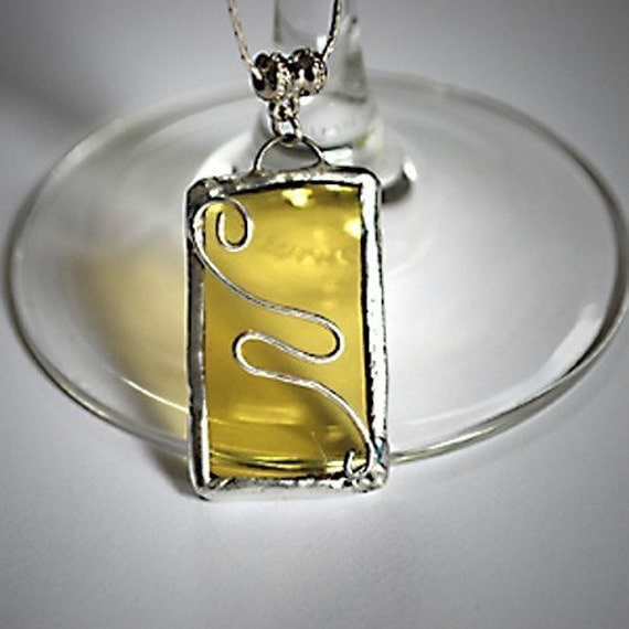 Amber Swirl Necklace made from a Recycled Wine Bottle