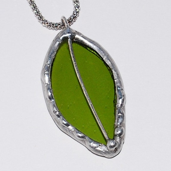Glass Leaf Pendant made from Recycled Wine Bottle