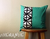 Asterisk // Aqua and Black // One of a Kind // 18 x 18 inch pillow cover