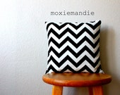 Clearance // Black & White Chevron Stripe Pillow Cover