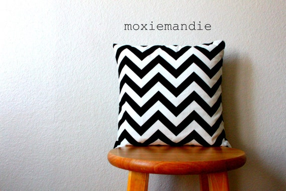 Black and White Chevron Stripe Pillow Cover // 14 x 14 inch pillow cover
