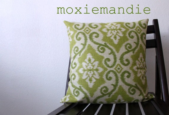 Indoor or Outdoor Lime Green Ikat Pillow Cover // 18 x 18 inch pillow cover