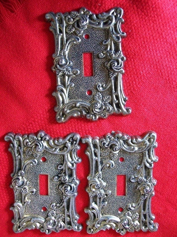 Vtg Ornate Shabby Cottage Style Brass Switch Plate Covers...Set of Three