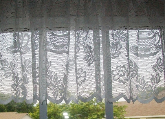 White Lace Valances With Coffee Cup Designs By Martha Stewart