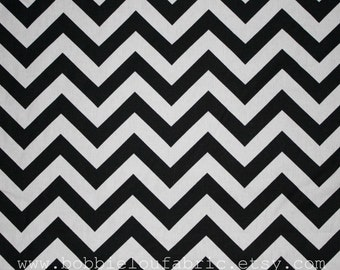 SALE - Premier Prints Fabric Zig Zag Chevron in Black and White - By the Yard