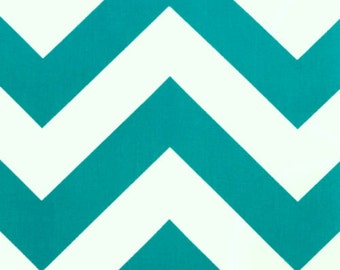 SALE - Premier Prints Fabric Zippy Chevron in True Turquoise and White