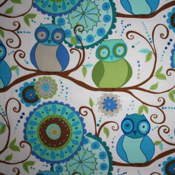 SALE - Valori Wells - Della Flannel - Owl Friends in Ocean - Fat Quarter