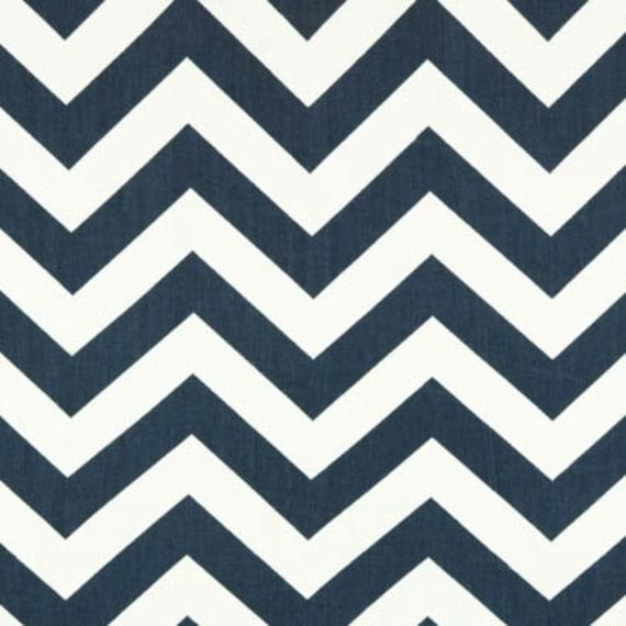 SALE - Premier Prints Fabric Zig Zag Chevron in Navy Blue and White Twill - Fat Quarter