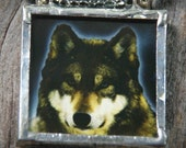 Wolf and Raven - Reversible Pendant Beaded Necklace