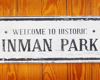 Inman Park Rustic Wooden Sign 7x14