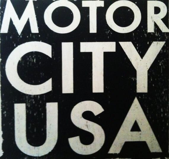 Motor City USA Large rustic sign 30 x 30