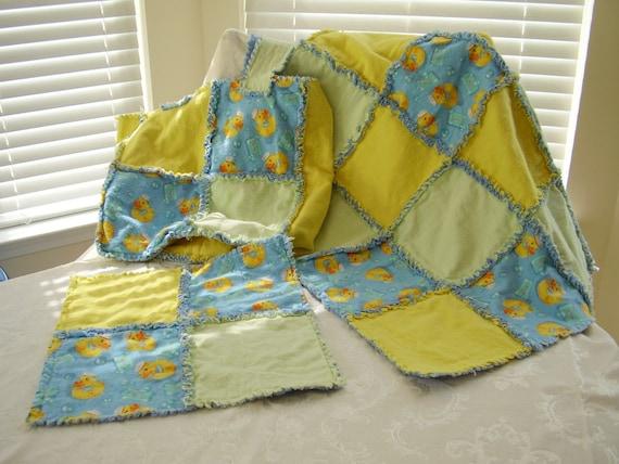 3 Piece Set Baby Boy Duck Rag Quilt Diaper Bag And