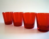 Six Mid-Century Art Glass On The Rocks Tumblers in Ruby Red