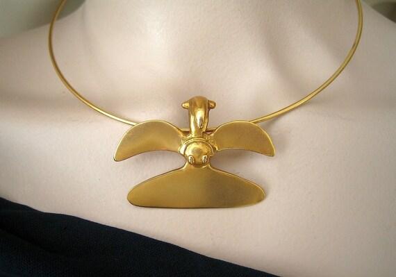 Alva Museum Pre-Columbian Gold Bird Form Replica Pendant and
