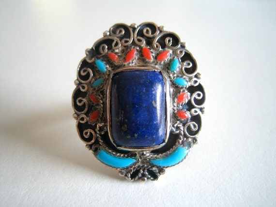 Large Egyptian Lapis and Persian Turquoise Sterling Ring