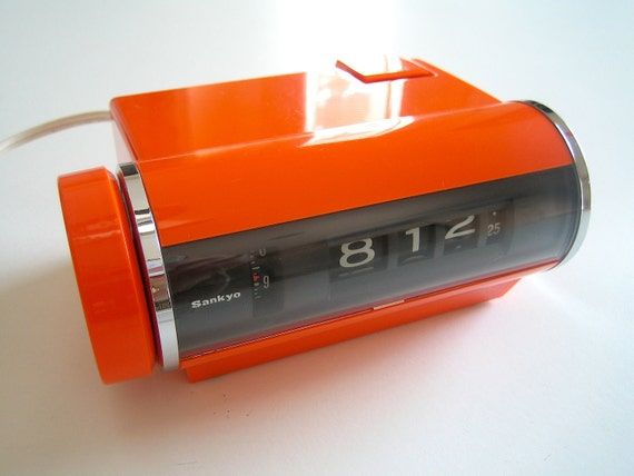 Mod Orange Flip Clock by Sankyo