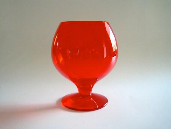 60's Mod Art Glass Goblet in Brilliant Red