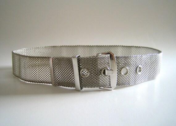 Mid-Century Silver Mesh Shiny Metal Belt