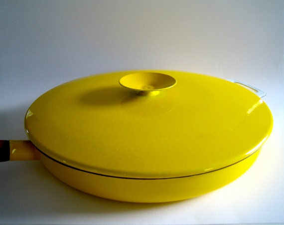 RESERVED for Bobbie Large Danish Modern Enameled Skillet with Lid in Sunny Yellow