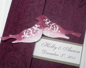Raspberry Purple Pink Vintage Love Birds Pocketfold Wedding Invitation Pocket Fold