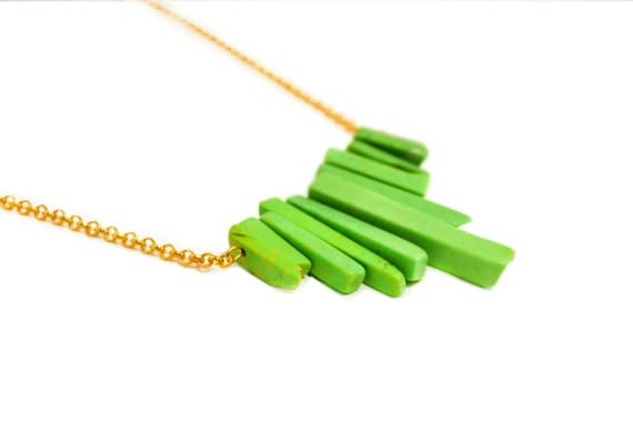 Golden and Green Turquoise Necklace