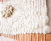 White texture - wool, cotton and leather woven art