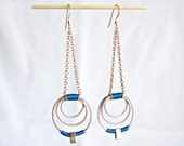 SALE Leather and Brass earrings - Blue doppler