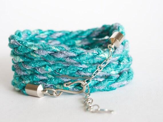 Braided wrap bracelet - aqua green