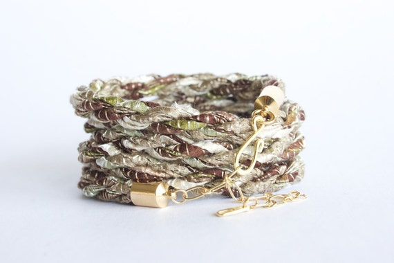 Braided wrap bracelet - safari green