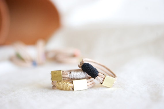 SALE Leather and Brass stackable ring - size 8