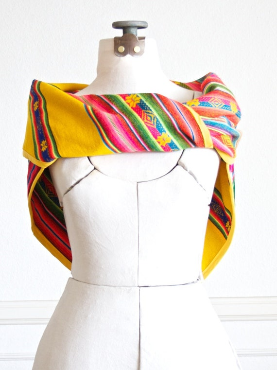 Yellow triangle aztec scarf - neo folk wrap in mustard and forest green