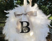 Personalized Feather Wreath Great for Bride and Groom Weddings As seen in Romantic Homes Magazine  Ships in 2-3 DAYS