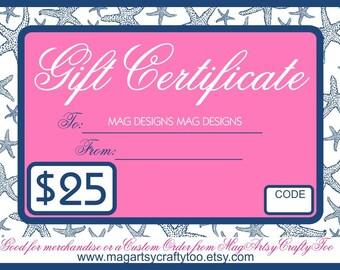 25 Dollar Gift Card Etsy