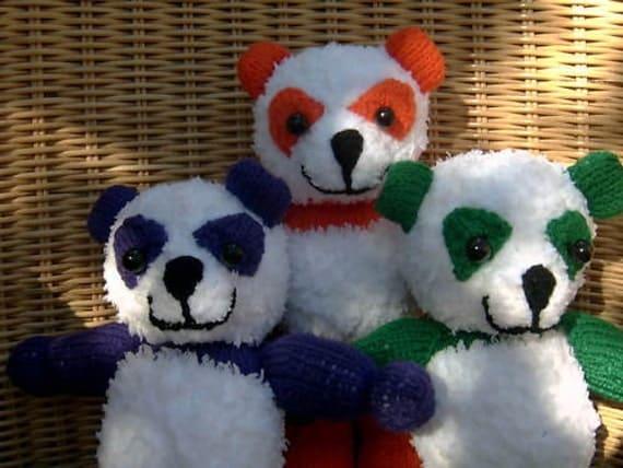 Same Smile Pandas set of 3 Hand Knitted Toys